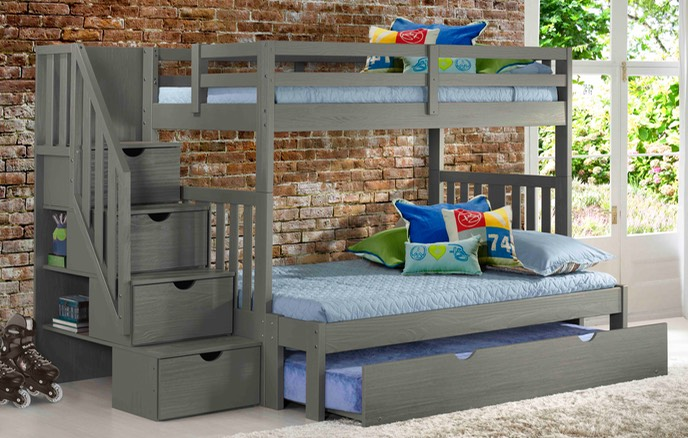 Cambridge Gray Staircase Bunk Bed