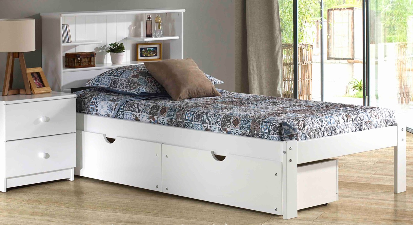 DEL REY WHITE BOOKCASE BED